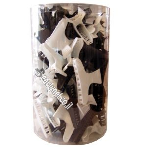 קליפס פלסטיק שחור לבן 72
